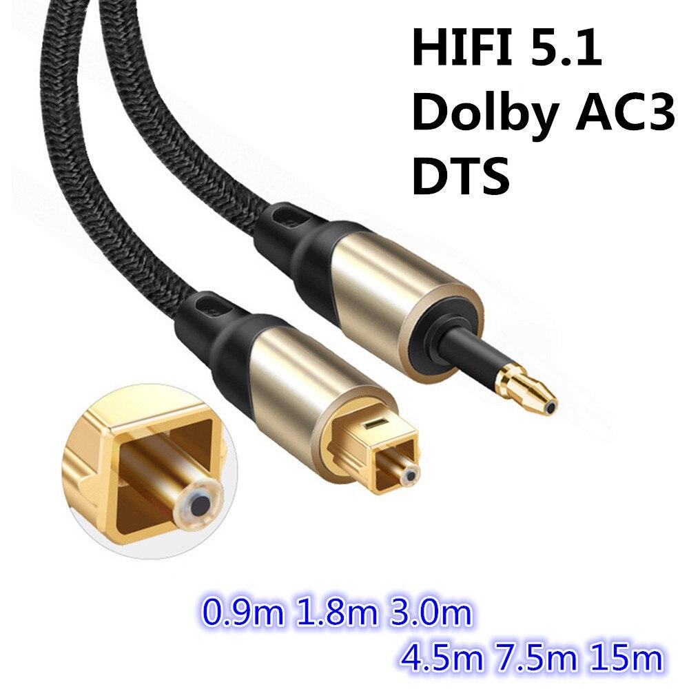 3.5 milímetros Mini Toslink Para Toslink Cabo de Áudio Digital SPDIF Óptico Toslink Cabo De Fibra 5.1 0.9m 1.8m 3m 4.5m 7.5m 15 3m