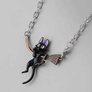 Image 4 - 도매 10 개/몫 미야자키 하야오 키키의 배달 서비스 검은 고양이 펜던트 목걸이 귀여운 만화 쥬얼리 어린이 친구