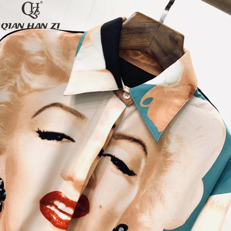Qian Han Zi 2019 nouveau designer femmes hauts et chemisiers à manches longues Monroe imprimer décontracté lâche chemise de mode - 3