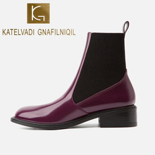 KATELVADI Winter Boots Women 2019 Rose Purple Ankle For Thick Heel Slip On Ladies Shoes Chelse K-522