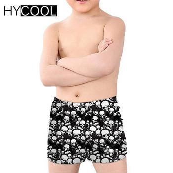 HYCOOL Cartoon nadruk z czaszką chłopcy letnie kąpielówki kąpielowe stroje kąpielowe dla dzieci oddychające stroje kąpielowe dla dzieci sport tanie i dobre opinie skull Polyester Spandex Dobrze pasuje do rozmiaru wybierz swój normalny rozmiar Children swimsuits kids trunks boys swimwear