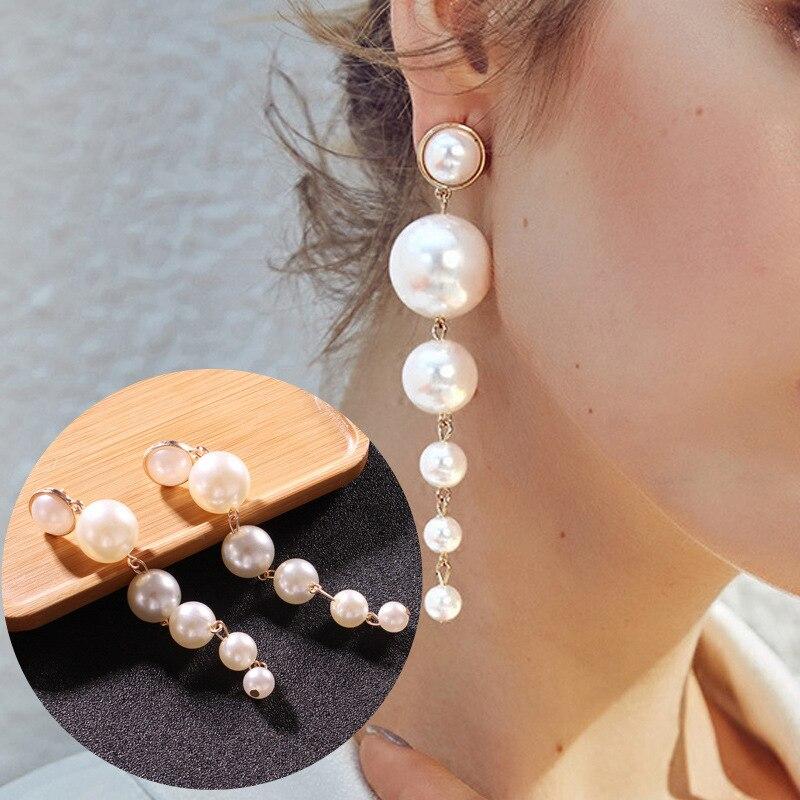 2020 Pendientes Brinco Brincos et les bijoux taille longue perle boucles d'oreilles contracté mode personnalité Earpins populaire femme 1
