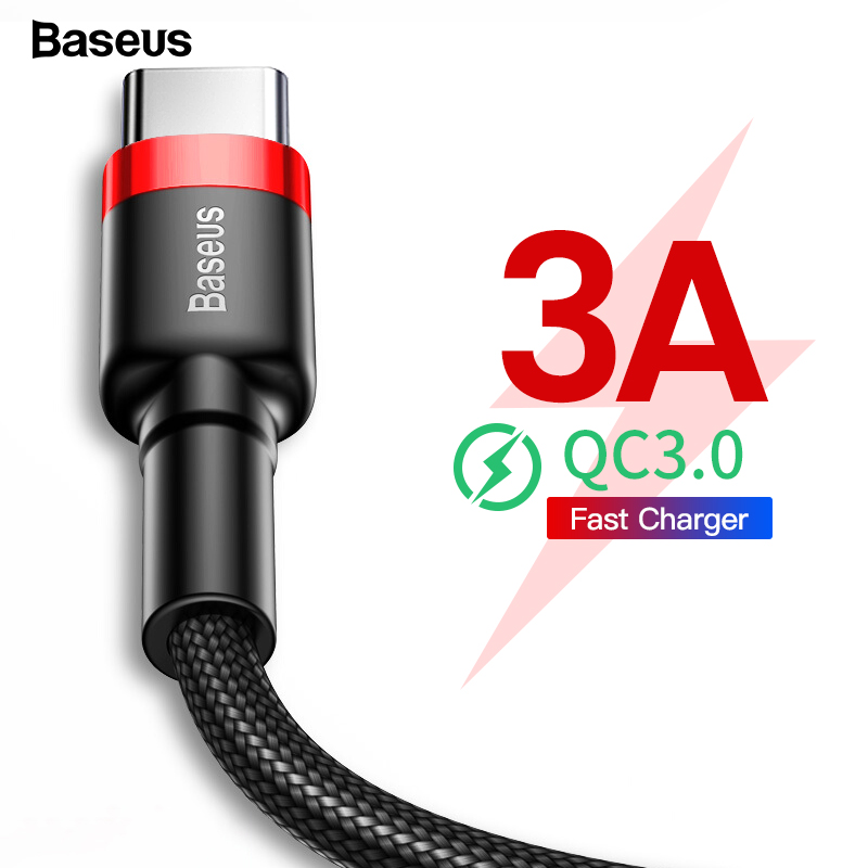Baseus Fast Charging USB Type C Cable For Samsung S9 Xiaomi Redmi Note 7 10 K20 Pro Mobile Phone USBC USB C Charger Wire Cord 3M-in Mobile Phone Cables from Cellphones & Telecommunications on AliExpress