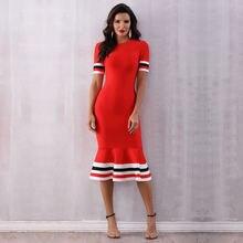 Женское облегающее платье годе осеннее средней длины с круглым