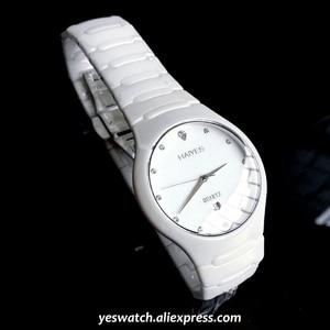 Image 1 - HAIYES الأسود السيراميك الرجال الساعات العلامة التجارية الفاخرة بسيطة كريستال ساعات كوارتز الرجال Relogio masculino