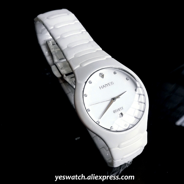 HAIYES الأسود السيراميك الرجال الساعات العلامة التجارية الفاخرة بسيطة كريستال ساعات كوارتز الرجال Relogio masculino
