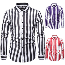 2019 New Spring And Autumn Special Shirt Mens Long-sleeved British Trend Striped Casual Slim