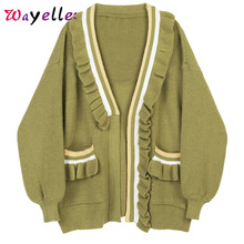 Knitted Sweaters Women 2019 Fall Loose Fit V-Neck Long Sleeve Tops Contrast Color Pleated Striped Open Stitch