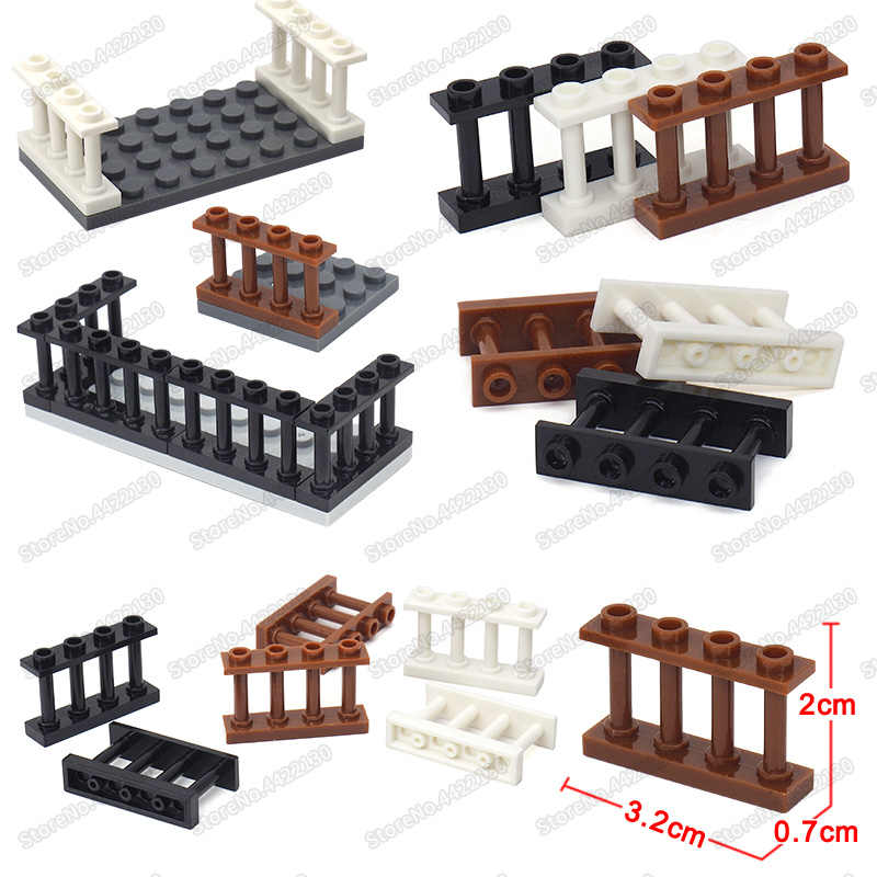City Block Fence Building Blocks Set Diy Figures Houses Balcony Railing Military Barrier Assembly Moc Child Christmas Gifts Toys