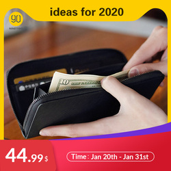 NINETYGO 90FUN Concise Business Long Wallet Safiano Genuine Leather Card Holder Purse for Men Women Casual  Coins Notes Bills