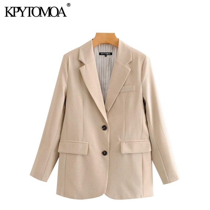 KPYTOMOA Women 2020 Fashion Office Wear Single Breasted Blazer Coat Vintage Long Sleeve Pockets Female Outerwear Chic Tops