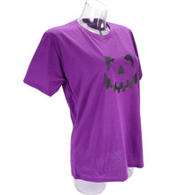 1pc T Shirt Short Sleeve Pumpkin Pattern Smile Printing Summer Clothes Halloween Decorations Clothes (Purple L)(China)