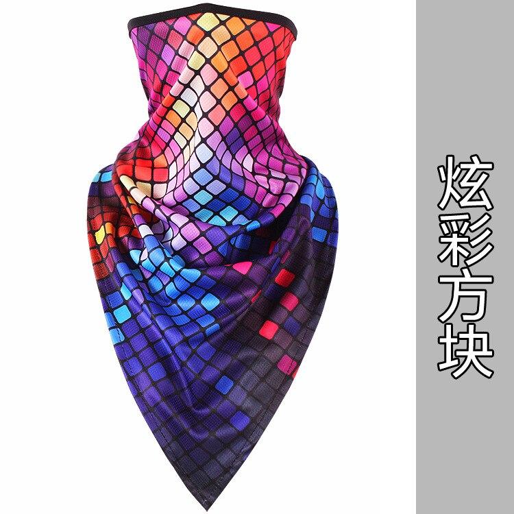 Новое ледяное шелковое треугольное полотенце крутой дышащий платок на голову воротник Мужская и женская маска от Солнца маска ошейник - Цвет: Colorful
