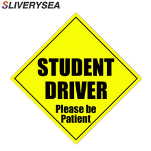 SLIVERYSEA 4*9 Inch Car Styling STUDENT DRIVER BE PATIENT Reflective Vinyl Stickers and Decals