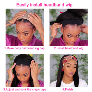 Image 5 - Fashion Lady Headband Wig Human Hair Straight Wave For Black Women 2020 Winter New Arrival Remy Hair Glueless Full Machine Wigs