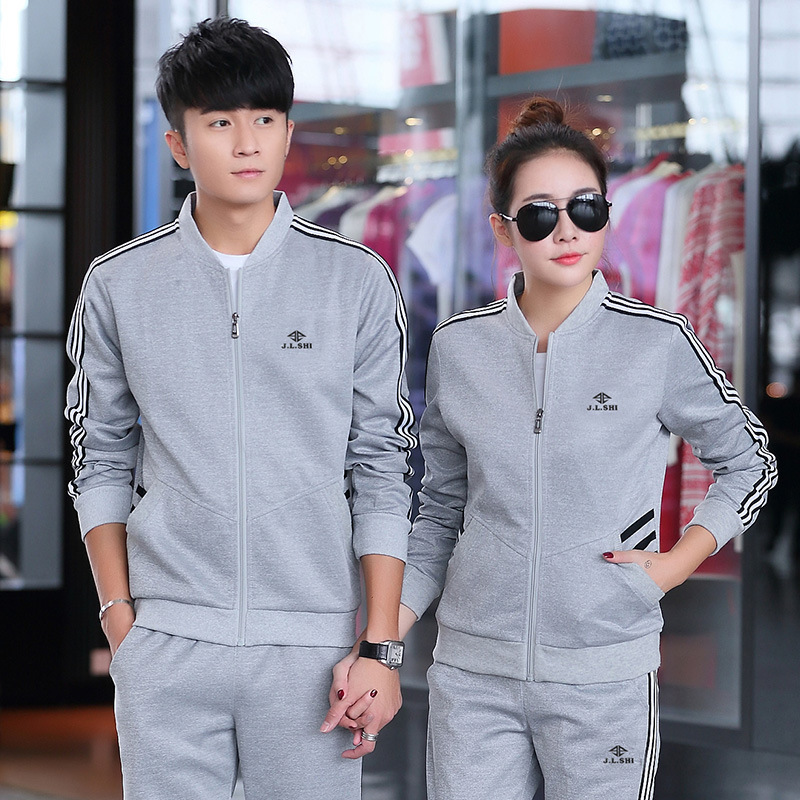 Women Tracksuit Men Sportswear Lovers Casual Jogger Running Workout Outfit Set Stripe Printed Jacket Sweatshirt pant Sport Suit in Running Sets from Sports Entertainment