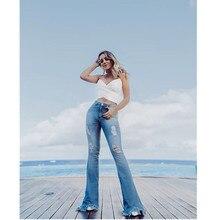 Flare Jeans Pants Women High Street Ripped jeans Vintage Denim Ladies Jeans Women  Fashion Stretch Pocket Skinny Wide Leg Jeans