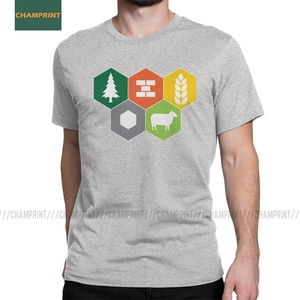Settlers Of Catan Fan Men's T Shirts Board Wheat Sheep Wood Gamer Game Funny Tees Short Sleeve T-Shirts Pure Cotton New Arrival(China)