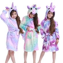 Детский банный халат для девочек; пижамы кигуруми с единорогом; флисовые банные халаты для мальчиков; ночная рубашка; детская одежда для сна; банный халат с капюшоном