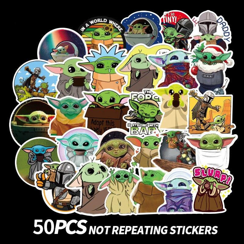 50pcs Cartoon Baby Yoda Star Wars Pegatinas The Mandalorian Stickers Waterproof PVC Skateboard Luggage Motorcycle Toys Sticker