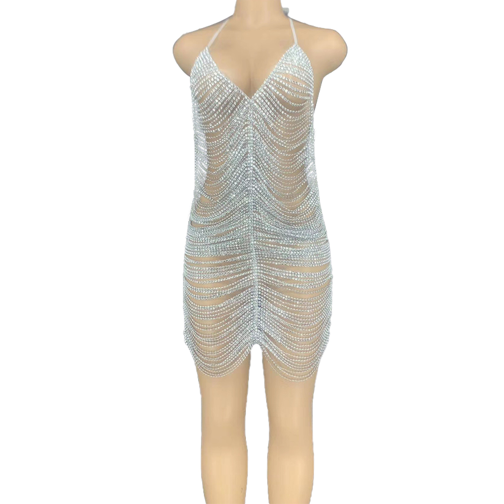 Silver Rhinestones Chains Backless Short Dresses for Women Nightclub Party Dancer Hollow Outfit Birthday Celebrate Dress