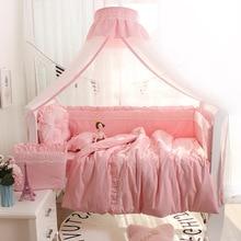 Детская кроватка вокруг протектор люлька кружева бампер стиль принцессы сплошной цвет хлопок Простыня Постельное белье четыре сезона универсальный