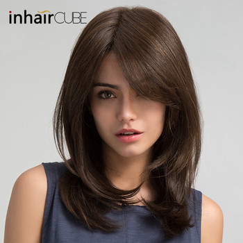 цена на Inhair Cube Women Hair Wigs Party Daily Natural Wave Dark Brown Side Part Synthetic Wigs with Bangs Free Shipping