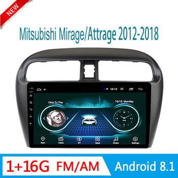 car radio For Mitsubishi Mirage Attrage 2012-2018 multimedia system auto audio GPS navigator FM am USB 1 din Android mirror link image