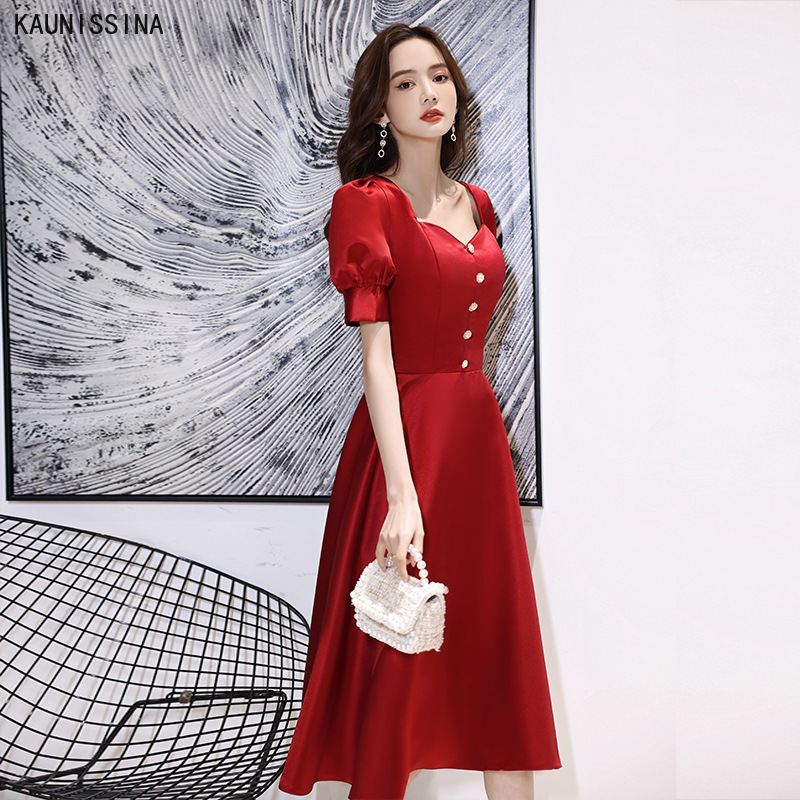 KAUNISSINA Simple Cocktail Dresses Women Party Wear Prom Dress V-Neck Short Sleeve Knee Length A-Line Vestidos Homecoming Gown
