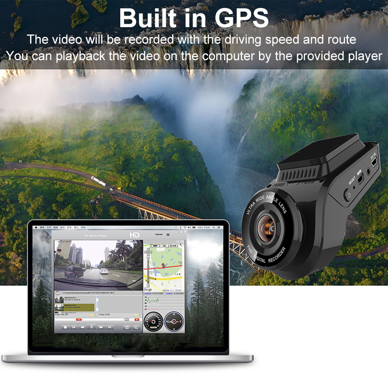 Bluavido 4K 2160P Dash cam with 1080P Rear Camera GPS logger ADAS IMAX323 sensor car Video Recorder Novatek96663 Nightvision DVR - 3