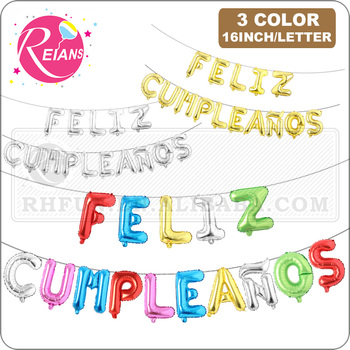 16 pulgadas ducha de bebé español Feliz cumpleaños letra de alfabeto Globos inflables colgar Globos aerostáticos suministros de decoración