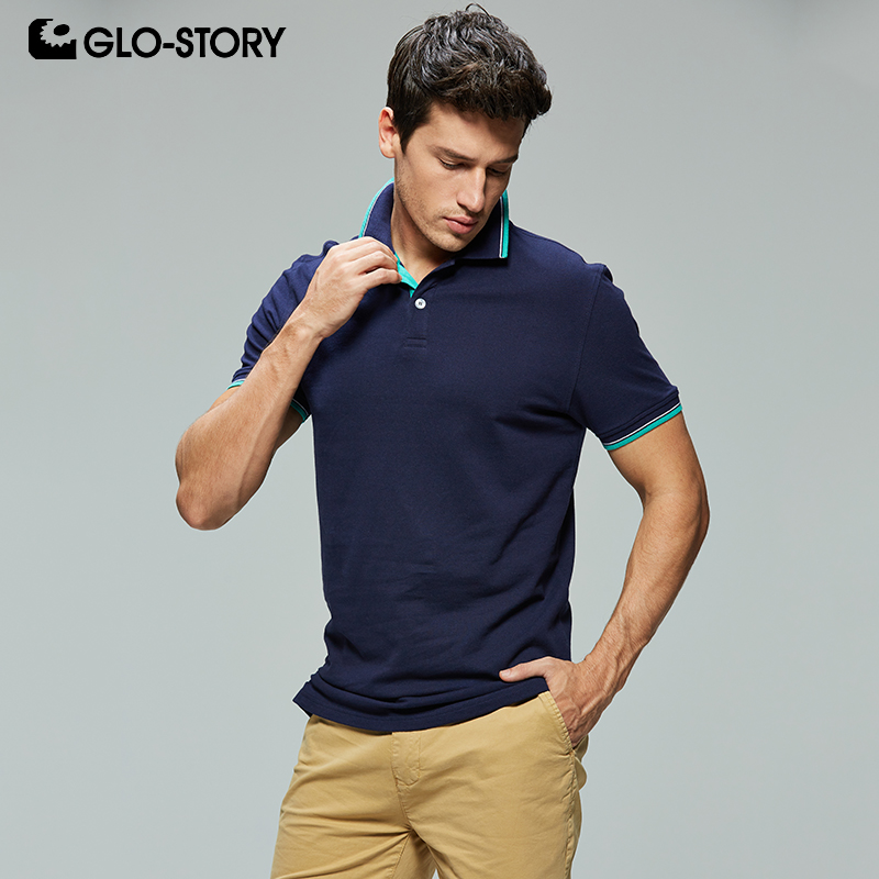 GLO-STORY Men's 2020 Basic Casual Knitted Cotton Polo Homme Polo Shirt Men Short Sleeve Shirt Tops Men Clothes MPO-7145