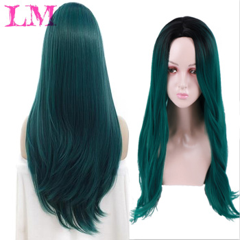 цена на LM Fashion Girl Afro Long Ombre Black Green Cosplay Lolita Wig No Bangs  Fiber Synthetic Pink Hair Extension Wigs for Women
