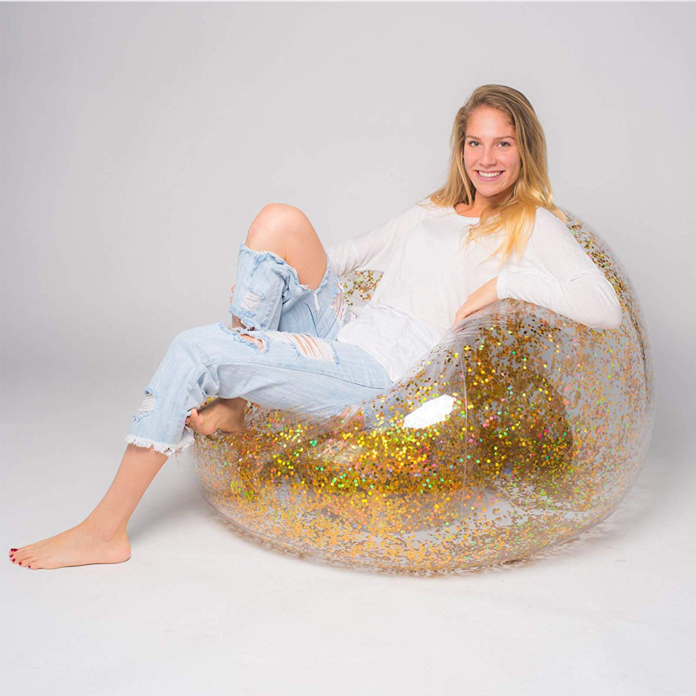 Pvc Sequins Glitter Lazy Sofa Inflatable Home Bean Bag Chair Transparent Foldable Single Oval Sofa Thicken Outdoor Air Sleeping
