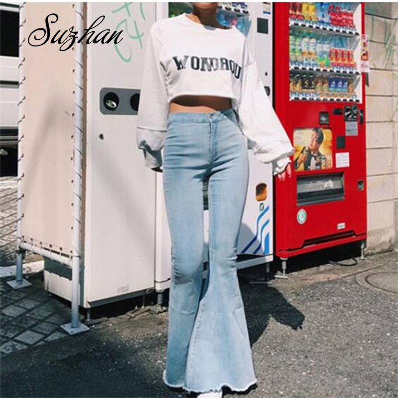 Suzhan 2019 New Fashion Casual Women Vintage Jeans Flare Stretch Denim Pants Ladies High Waist Casual Trousers