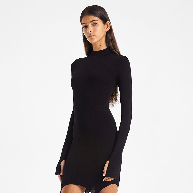 CHRONSTYLE 2020 Sexy Women Dress With Stockings Buckle Pacthwork Dress Club Streetwear Long Sleeve Solid Bodycon Pencil Dresses 8