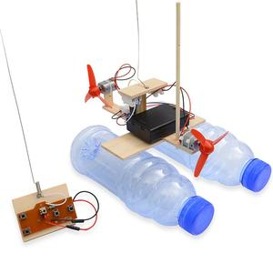 Boat Science Wind-Turbine-Model Gift Remote-Control Wooden Educational-Toys DIY Assembled