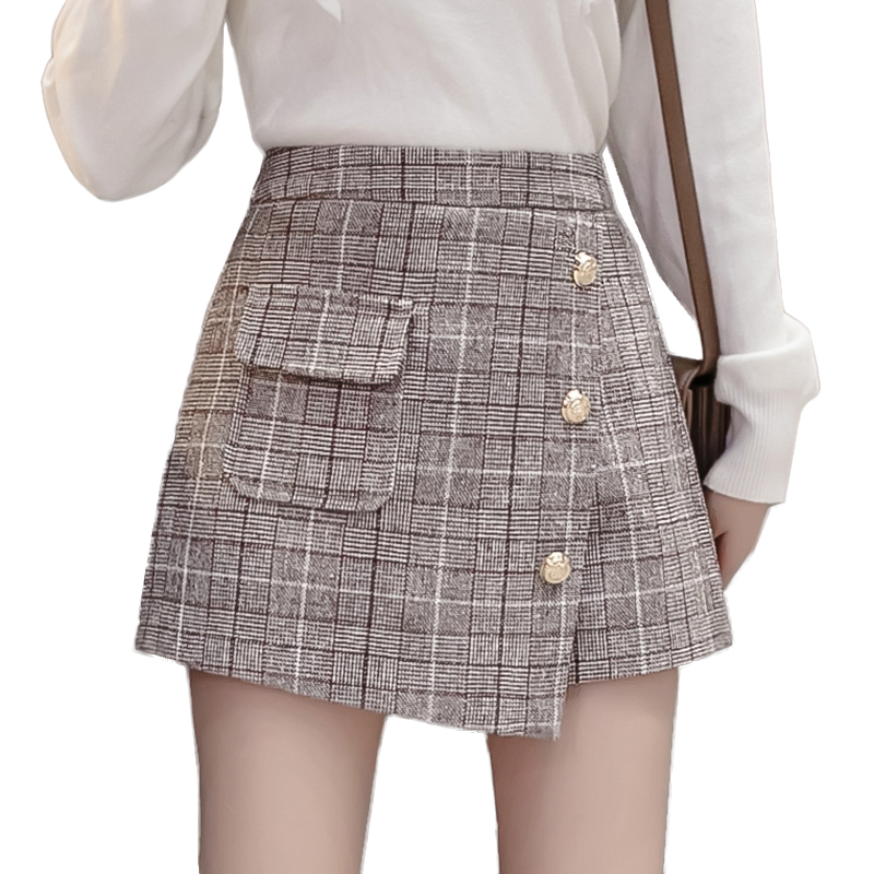 2019 Streetwear Wool Shorts Women Autumn Winter High Waist Plaid Skirt Shorts Ladies Plus Size Sexy Button Short Femme