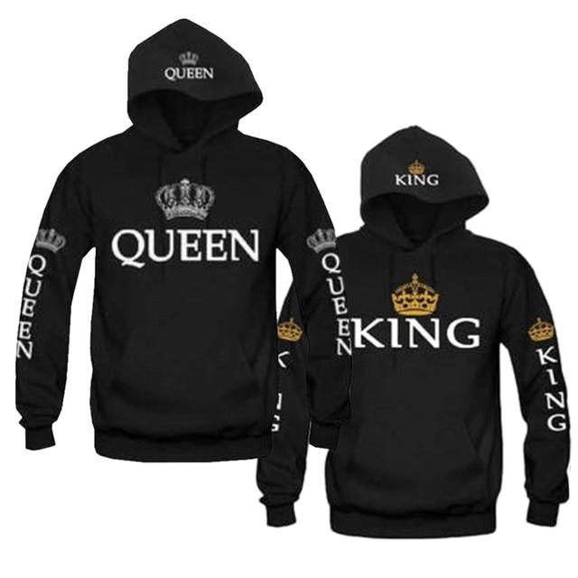 King And Queen Couple Matching Hoodie Sweatshirt Golden Crowns 1