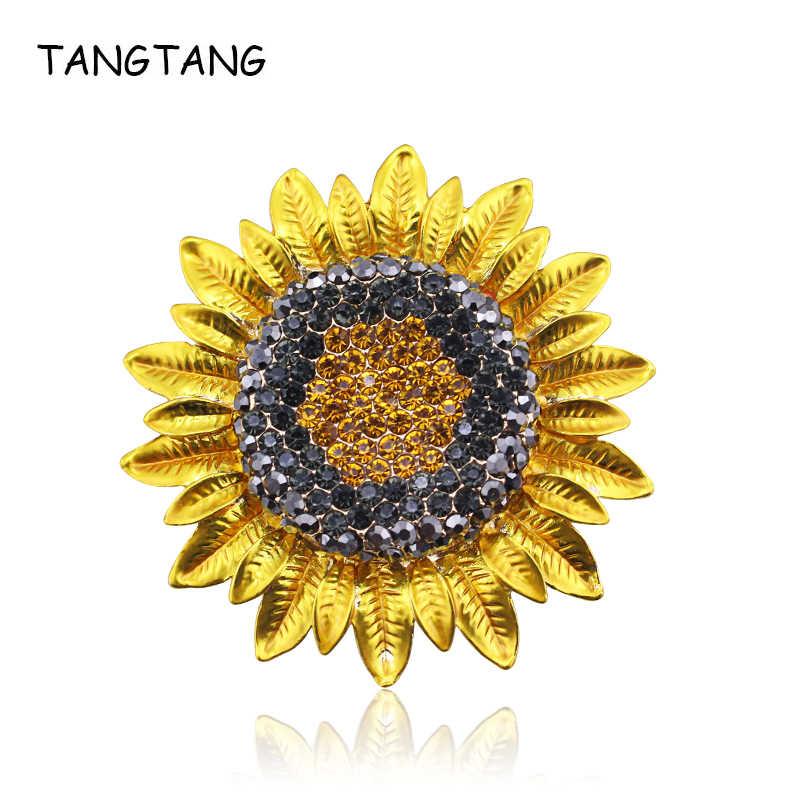 Tangtang大ヒマワリのブローチフルラインストーン黄色女性のための塗装ホットジュエリースカーフピンクリップバッジ流行