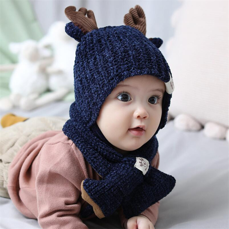 Kids Winter Hat And Scarf Baby Cotton Lnner Layer Ribbed Kintted Warm Hat Set Child 2019 Girls Boys Ear Protection Cap Scarves