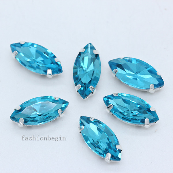 Всех размеров Наветт 24-цветное стекло камень с плоской задней частью, пришить с украшением в виде кристаллов Стразы драгоценные камни бисер с серебряной нитью, бледно-коготь кнопки для одежды аксессуары - Цвет: blue lake