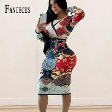 Ins moda barroco tribunal impressão manga longa bodycon midi vestido feminino outono inverno moda sexy nightclub vestidos dropshipping