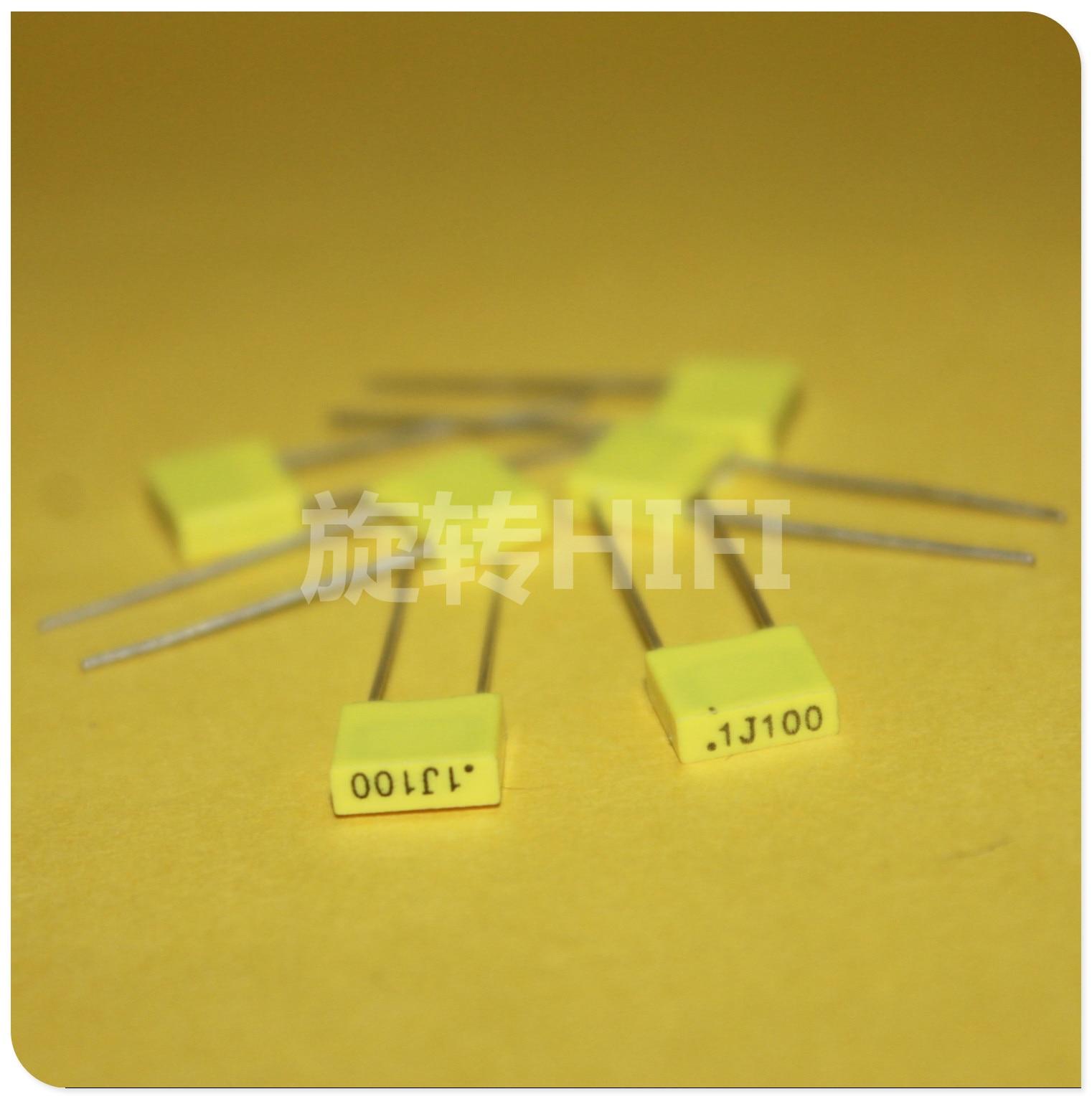 50PCS AV R82 100NF 100V P5MM Copper Film Capacitor KEMET 104/100V MKT 0.1UF 100N Italy Arcotronics 0.1uF/100V Yellow