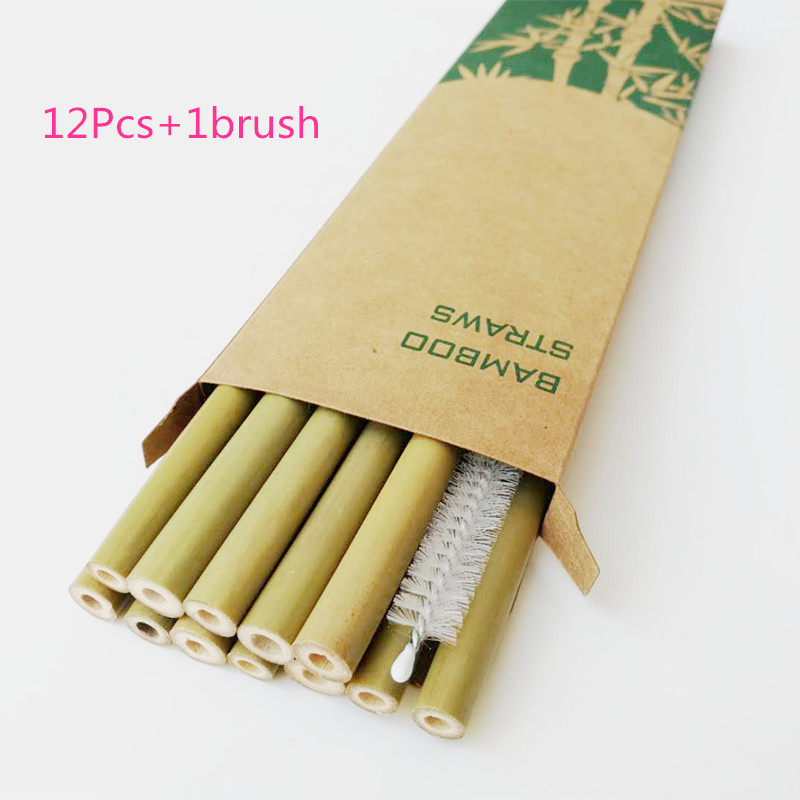 12pcs Drinking Straws Green Reusable Bamboo Straws with Eco Friendly Bamboo Straw Brush Decoration Gift Party Bar Accessories-in Drinking Straws from Home & Garden