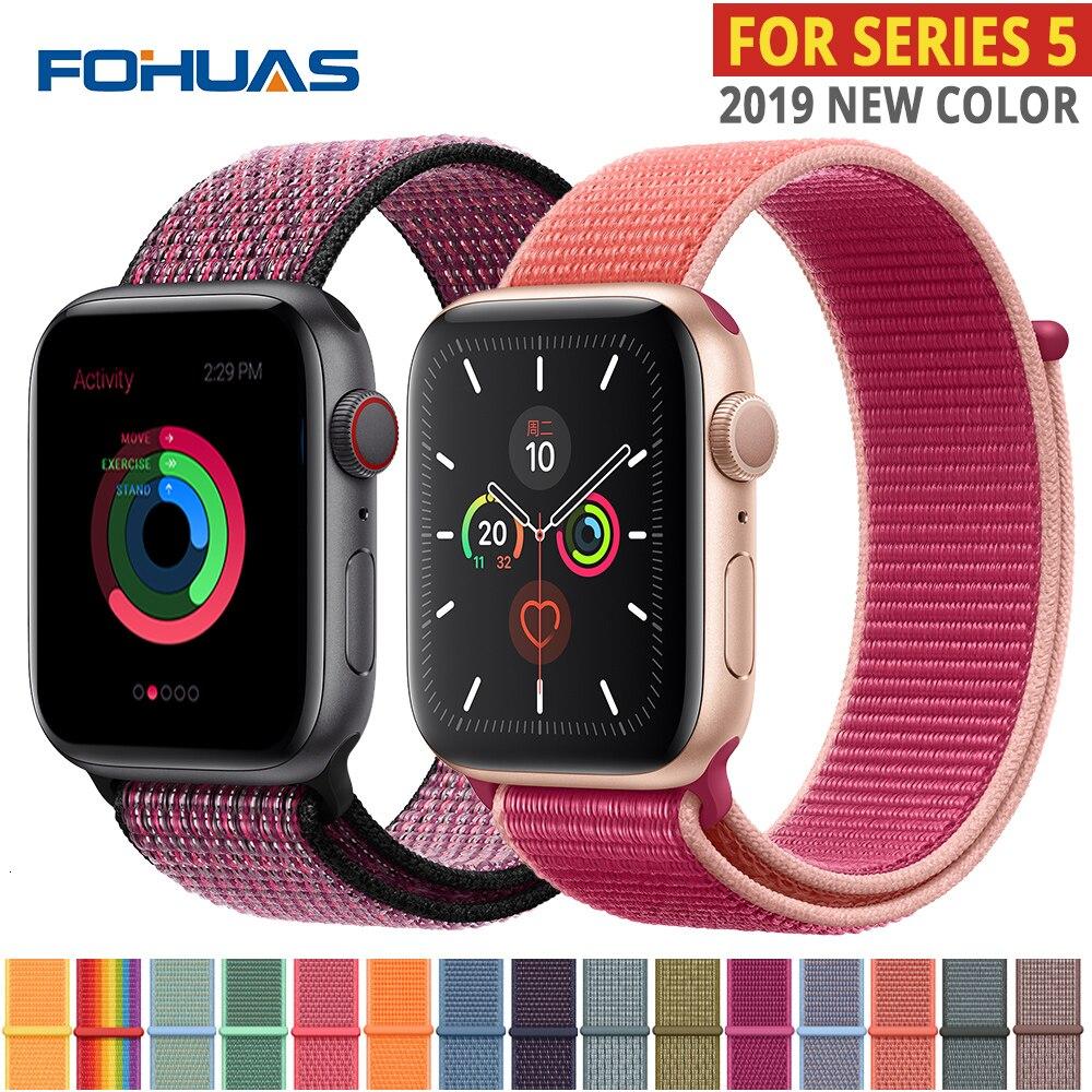 Nylon Strap For Apple Watch Bands Series 5 44mm Iwatch 42mm Strap 38mm 40mm Iwatch Sreies 4 3 2 Pulseira Bracelet Watchband Belt