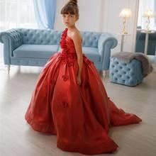 Bling vermelho vestidos da menina de flor para o casamento um ombro 3d flores little kids pageant vestidos a linha de desfile