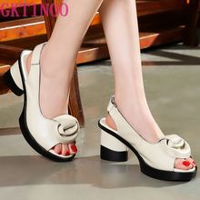 GKTINOO 2020 Summer Women Sandals Retro Style Handmade Flowers Platform Lady Gen