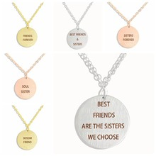 Best Friends Are The Sisters We Choose Friendship Necklace Letter Engraved Metal Pendant Jewelry Gifts