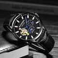 GUANQIN брендовые классические мужские модные часы автоматические механические часы с турбийоном из натуральной кожи водонепроницаемые дело...